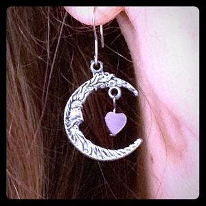 Winter SALE Crescent moon w/Purple Heart earrings